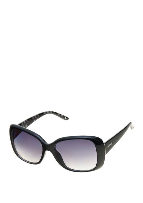 Nine West Plastic Rectangle Sunglasses with Clean Metal