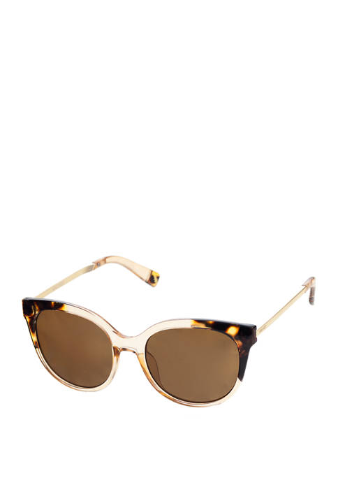 Nine West Plastic Medium Round Cat Eye Sunglasses