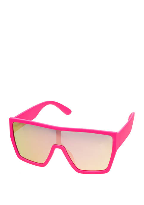 Plastic Neon Pink Shield Sunglasses