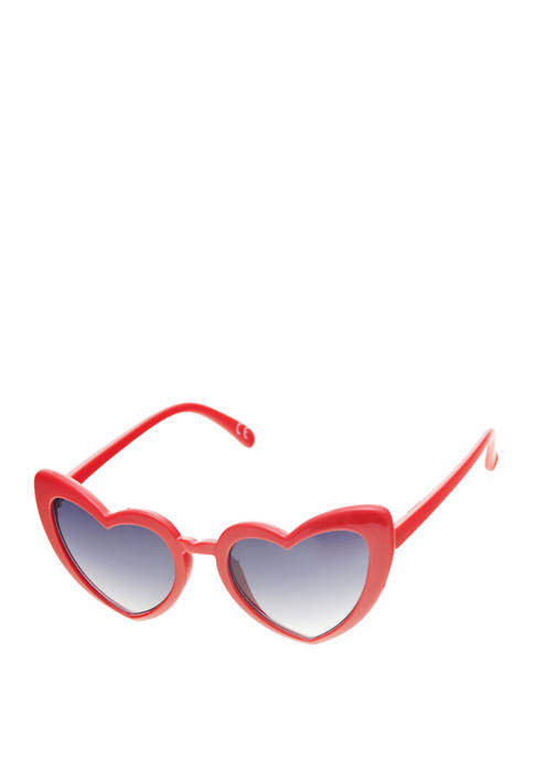 Heart Shaped Thick Rim Red Sunglasses