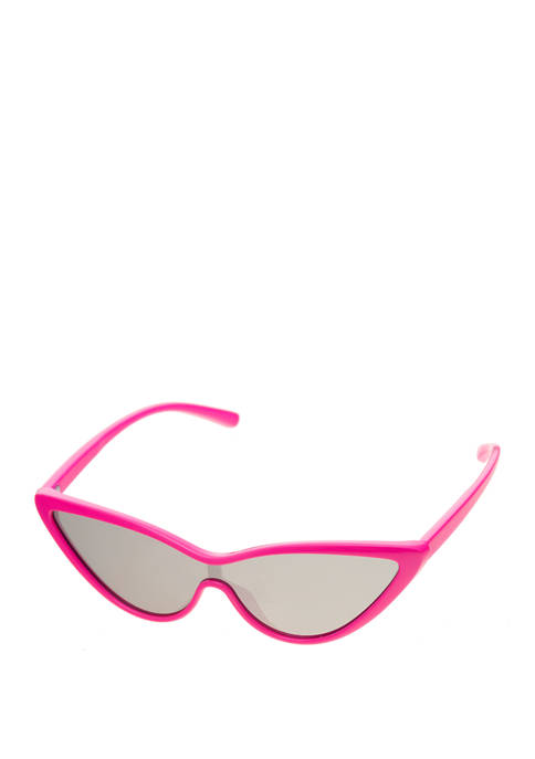 Super Cateye Plastic Light Pink Rim Sunglasses