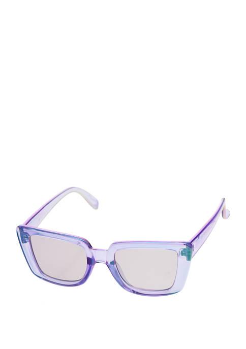 Rectangular Plastic Purple Sunglasses