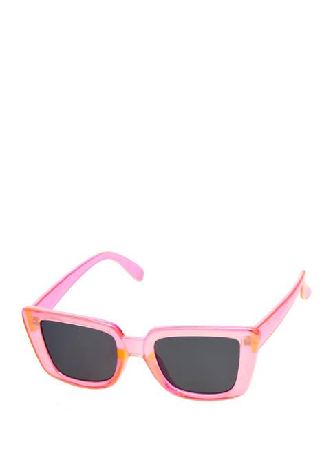 Rectangular Plastic Pink Sunglasses