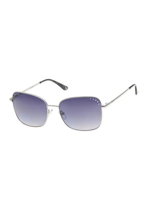 Nine West Large Square Blue Metal Sunglasses