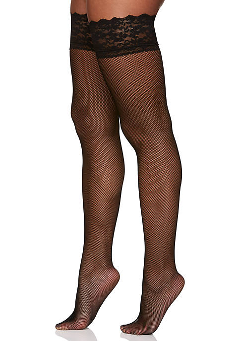 Fishnet Lace Top Thigh High Tights