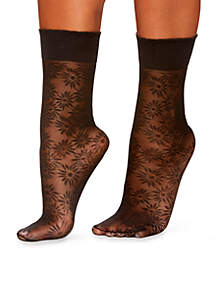 Plus Size Daisy Floral Anklet Tights