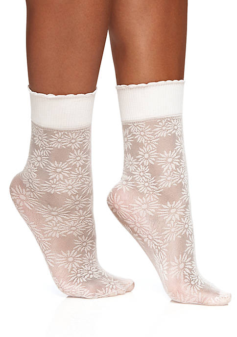 Berkshire Hosiery Plus Size Daisy Floral Anklet Tights