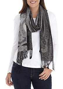 All Over Paisley with Viscose Lurex Blend Scarf