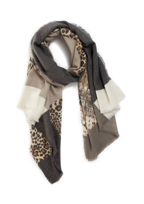 New Directions® Super Soft Colorblock Animal Scarf