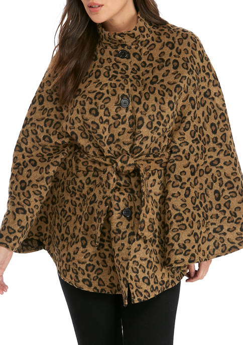 New Directions® Leopard Belted Cape Toggle Topper