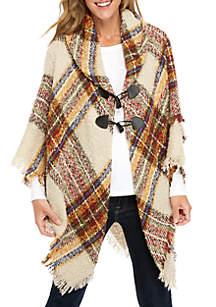 London Boucle Plaid Toggle Jacket
