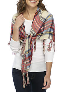 College Plaid WIth Lurex Triangle Scarf