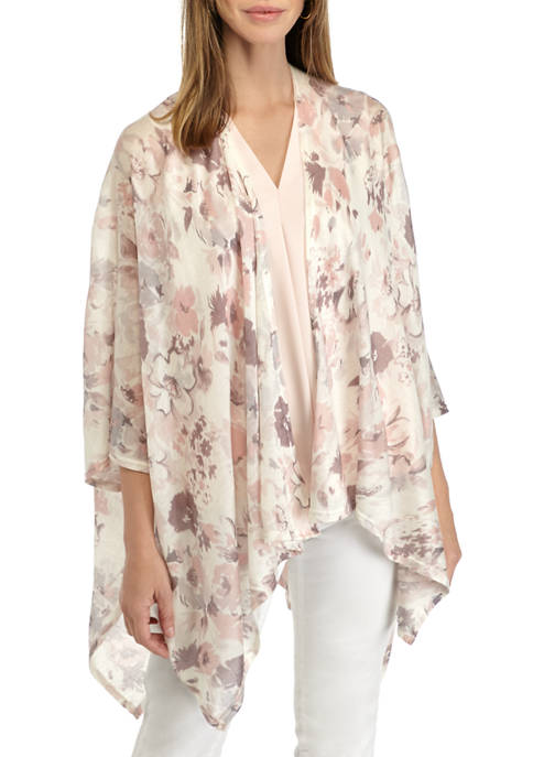 New Directions® Lightweight Knit Floral Topper