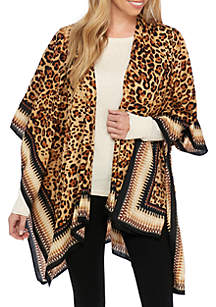Ruana Animal Print Topper with Border