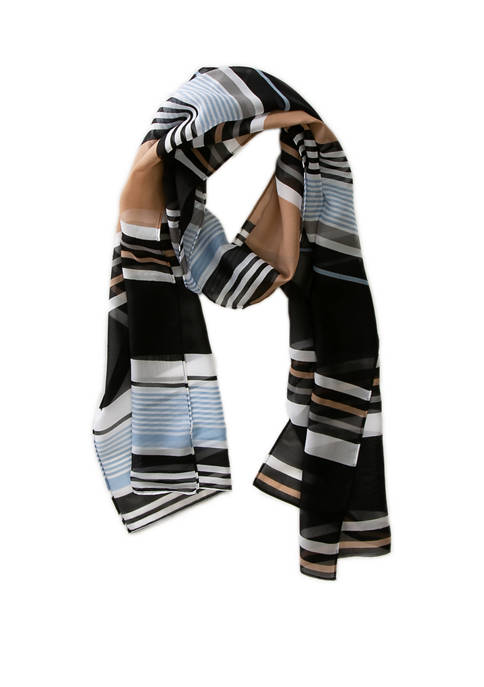 Kim Rogers® Wide Stripe Chiffon Oblong Wrap