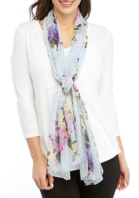 Kim Rogers® Floral Swiss Dot Oblong Scarf