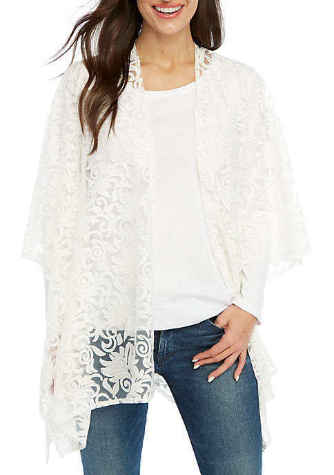 White Burnout Scroll Scarf