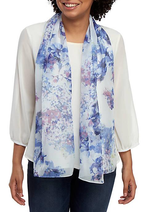 Kim Rogers® Spring Floral Blue Oblong Scarf