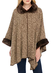 Boucle Cape with Trim