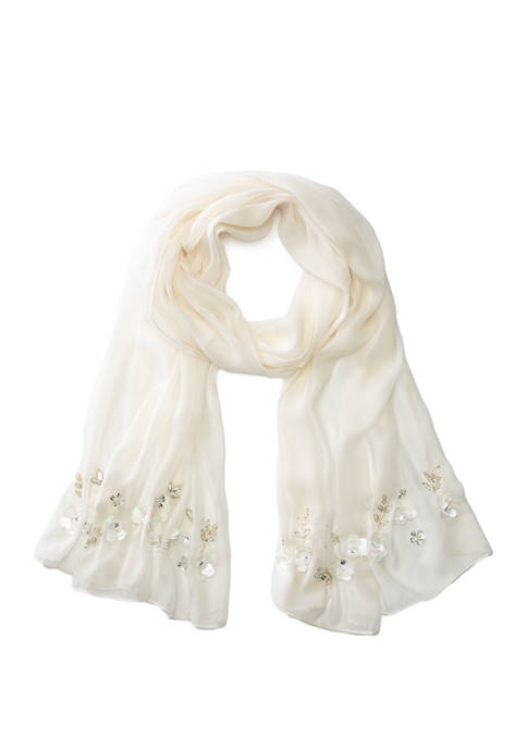 Reflection Floral Beaded Evening Wrap