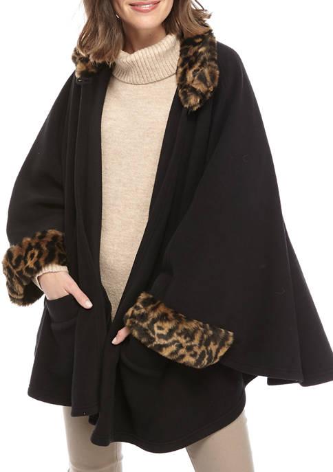 Betsey Johnson Leopard Fur Trim Fleece Topper