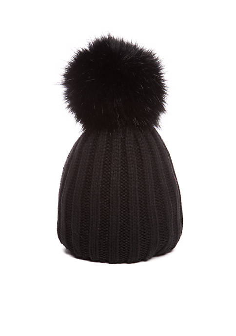 62bb80afb50 Steve Madden Knit Beanie with Oversized Faux Fur Pom