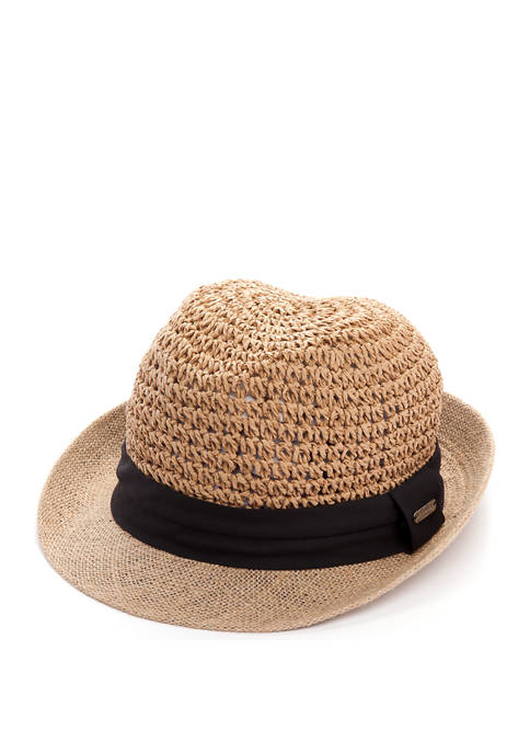 Betsey Johnson Paper Crochet Straw Fedora with Color