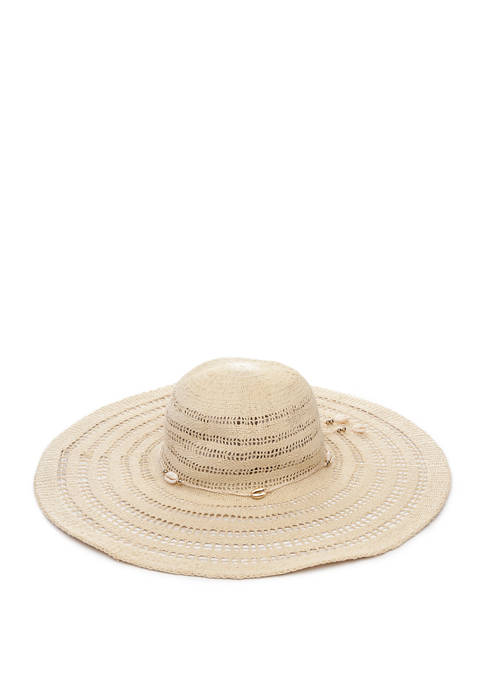 Betsey Johnson Golden Shells Floppy Hat