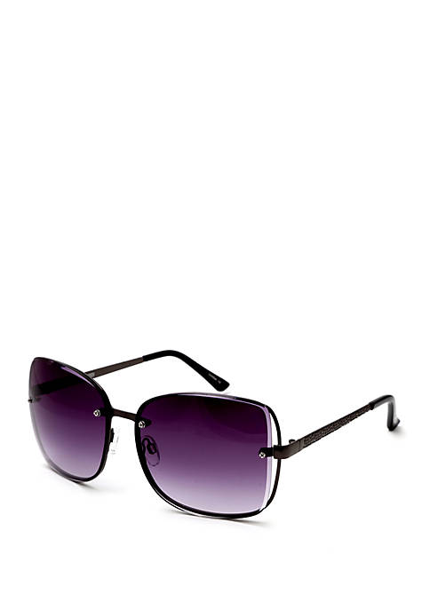 Cejon Square Sunglasses With Hammered Temples