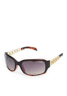 Cejon Rectangle Gold-Tone Metal Twisted Temples Sunglasses