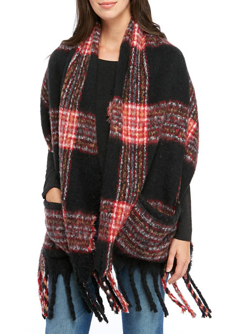 Betsey Johnson Ultra Soft Woven Plaid Scarf