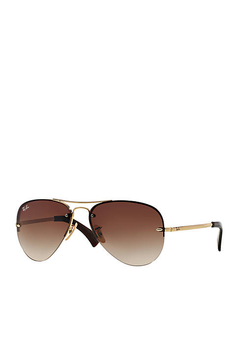 Ray-Ban® Gold Brown Aviator Sunglasses