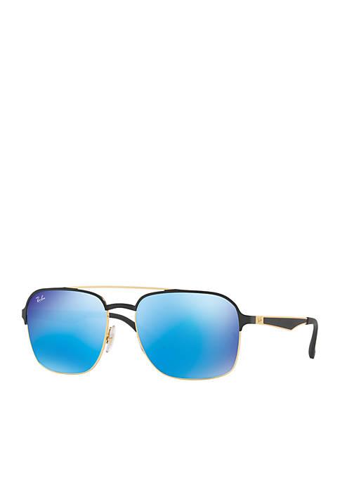 Square Blue Lens Sunglasses