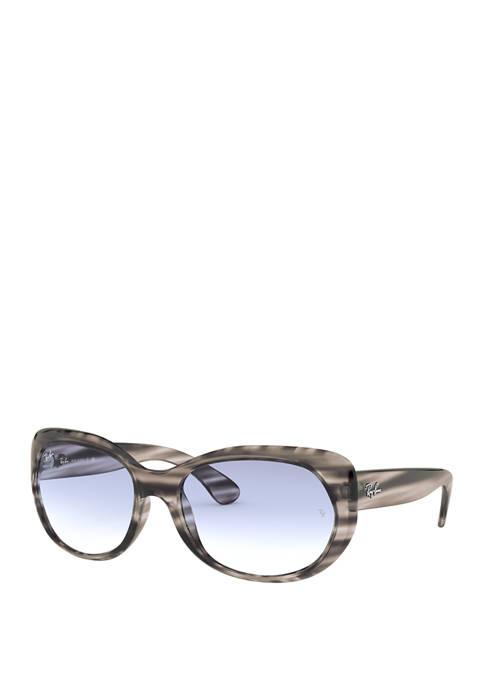 Plastic Oval Stripe Black Sunglasses