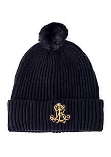 Rib Knit Logo Patch Hat