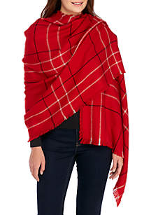 Oversized Plaid Blanket Wrap