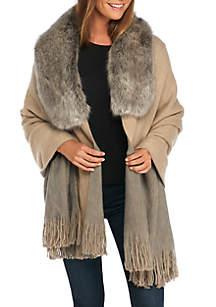 Reversible Fur Collar Ruana
