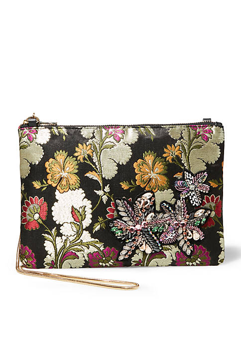 Steve Madden Flower Pouch With Applique Crossbody Clutch