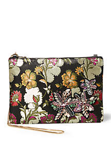 Flower Pouch With Applique Crossbody Clutch