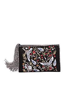 Bjaylen Velvet Floral Embroidery Clutch