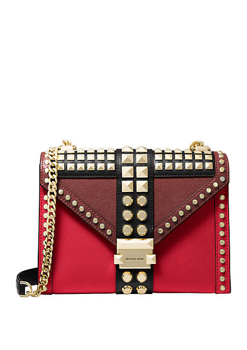 Whitney Large Studded Saffiano Leather Convertible Shoulder Bag