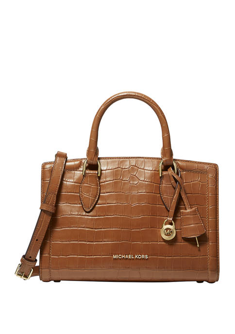 MICHAEL Michael Kors Zoe Medium Crocodile Embossed Leather
