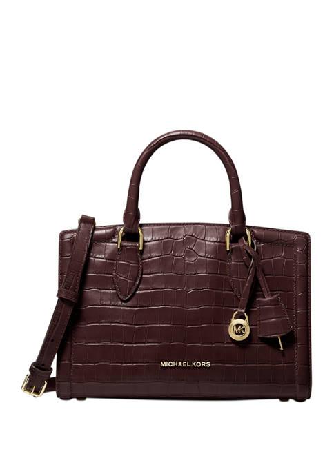 MICHAEL Michael Kors Zoe Medium Crocodile Embossed Leather
