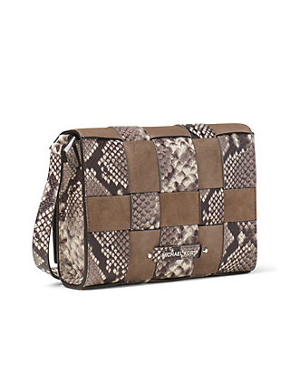 9025788b5f93 MICHAEL Michael Kors. MICHAEL Michael Kors Vivian Medium Woven Embossed- Leather And Suede Crossbody