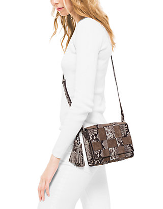 06f8639b6a94 ... MICHAEL Michael Kors Vivian Medium Woven Embossed-Leather And Suede  Crossbody ...