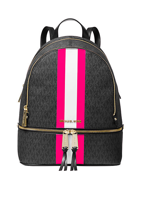 Rhea Medium Striped Logo Backpack