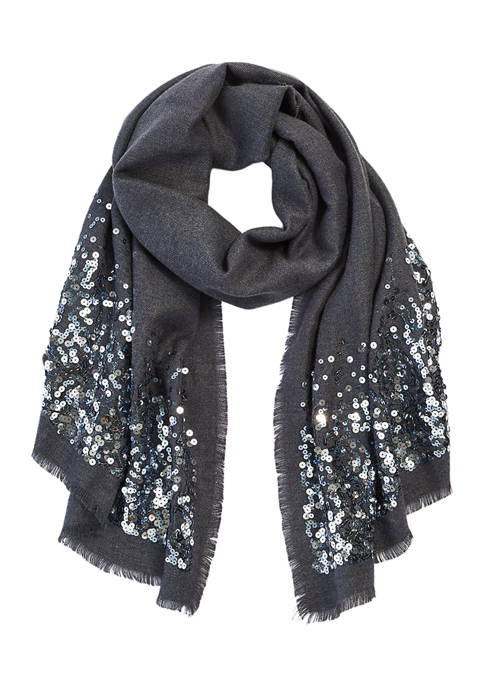 Collection XIIX Scattered Sequin Supersoft Oblong Scarf