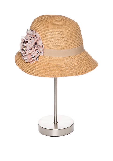 Collection XIIX Printed Chiffon Trim Cloche Hat