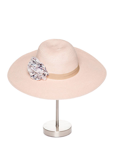 Collection XIIX Printed Chiffon Trim Floppy Hat