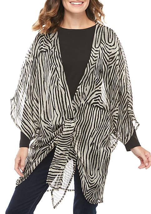 New Directions® Zebra Tie Front Kimono